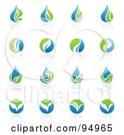 Royalty Free RF Clipart Illustration Of A Digital Collage Of Blue And Green Organic And Ecology Logo Designs Or App Icons by elena #COLLC94965-0147
