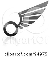 Royalty Free RF Clipart Illustration Of A Black And Gray Wing Logo Design Or App Icon 10 by elena