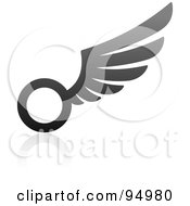 Royalty Free RF Clipart Illustration Of A Black And Gray Wing Logo Design Or App Icon 15 by elena