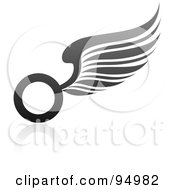 Royalty Free RF Clipart Illustration Of A Black And Gray Wing Logo Design Or App Icon 2