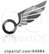 Royalty Free RF Clipart Illustration Of A Black And Gray Wing Logo Design Or App Icon 4