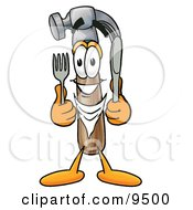 Hammer Mascot Cartoon Character Holding A Knife And Fork