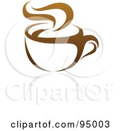 Royalty Free RF Clipart Illustration Of A Brown Steamy Coffee Logo Design Or App Icon 2 by elena #COLLC95003-0147