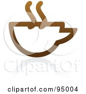 Royalty Free RF Clipart Illustration Of A Brown Outlined Coffee Logo Design Or App Icon 4 by elena