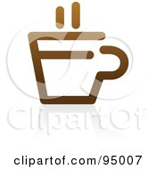 Royalty Free RF Clipart Illustration Of A Brown Outlined Coffee Logo Design Or App Icon 3 by elena