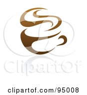 Royalty Free RF Clipart Illustration Of A Brown Steamy Coffee Logo Design Or App Icon 1