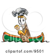 Clipart Picture Of A Hammer Mascot Cartoon Character Rowing A Boat by Toons4Biz