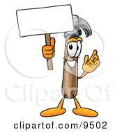Clipart Picture Of A Hammer Mascot Cartoon Character Holding A Blank Sign