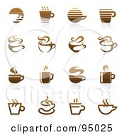 Royalty Free RF Clipart Illustration Of A Digital Collage Of Brown Coffee And Tea Logo Designs Or App Icons by elena