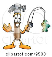 Clipart Picture Of A Hammer Mascot Cartoon Character Holding A Fish On A Fishing Pole by Toons4Biz