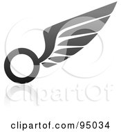 Royalty Free RF Clipart Illustration Of A Black And Gray Wing Logo Design Or App Icon 6 by elena