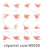 Royalty Free RF Clipart Illustration Of A Digital Collage Of Pink Dove And Bird Logo Designs Or App Icons