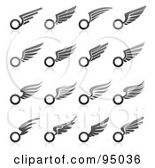 Royalty Free RF Clipart Illustration Of A Digital Collage Of Black And Gray Wing Logo Designs Or App Icons by elena