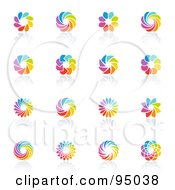 Royalty Free RF Clipart Illustration Of A Digital Collage Of Rainbow Circle Logo Designs Or App Icons