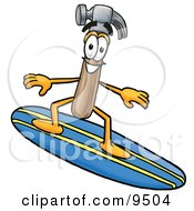 Clipart Picture Of A Hammer Mascot Cartoon Character Surfing On A Blue And Yellow Surfboard