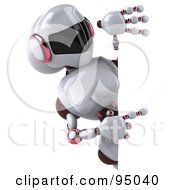 Royalty Free RF Clipart Illustration Of A 3d Female Techno Robot Pointing At A Blank Sign by Julos