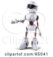 Royalty Free RF Clipart Illustration Of A 3d Female Techno Robot Gesturing To The Left by Julos
