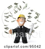 3d Male Architect Surrounded By Falling Banknotes - 1