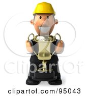 Royalty Free RF Clipart Illustration Of A 3d Male Architect Holding A Trophy 1