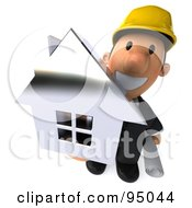 Royalty Free RF Clipart Illustration Of A 3d Male Architect Holding A Silver House