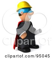 Royalty Free RF Clipart Illustration Of A 3d Male Architect Super Hero 2
