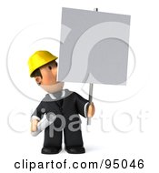 Royalty Free RF Clipart Illustration Of A 3d Male Architect With A Blank Sign Board 3
