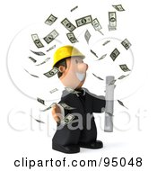 Royalty Free RF Clipart Illustration Of A 3d Male Architect Surrounded By Falling Banknotes 2
