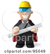 Royalty Free RF Clipart Illustration Of A 3d Male Architect Super Hero 1