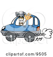 Clipart Picture Of A Hammer Mascot Cartoon Character Driving A Blue Car And Waving by Toons4Biz