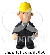 Royalty Free RF Clipart Illustration Of A 3d Male Architect Pouting