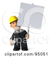 Royalty Free RF Clipart Illustration Of A 3d Male Architect With A Blank Sign Board 2