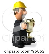 Royalty Free RF Clipart Illustration Of A 3d Male Architect Holding A Trophy 2