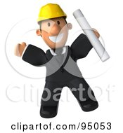 Royalty Free RF Clipart Illustration Of A 3d Male Architect Leaping With Plans by Julos
