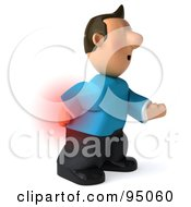3d Casual Man With Extreme Back Pain