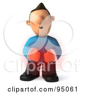 Royalty Free RF Clipart Illustration Of A 3d Casual Man With Extreme Tummy Pain