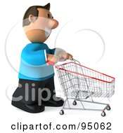 Royalty Free RF Clipart Illustration Of A 3d Casual Man With An Empty Shopping Cart 2
