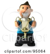 Royalty Free RF Clipart Illustration Of A 3d Casual Man Holding A Trophy 1