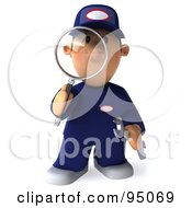 Royalty Free RF Clipart Illustration Of A 3d Toon Guy Auto Mechanic Inspecting With A Magnifying Glass 2