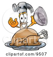 Clipart Picture Of A Hammer Mascot Cartoon Character Serving A Thanksgiving Turkey On A Platter