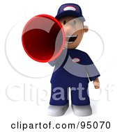 Royalty Free RF Clipart Illustration Of A 3d Toon Guy Auto Mechanic Making An Announcement