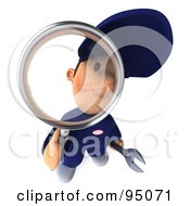 Royalty Free RF Clipart Illustration Of A 3d Toon Guy Auto Mechanic Inspecting With A Magnifying Glass 1