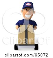 Royalty Free RF Clipart Illustration Of A 3d Toon Guy Auto Mechanic Pushing Inventory Boxes On A Dolly 1