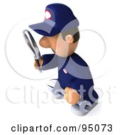 Royalty Free RF Clipart Illustration Of A 3d Toon Guy Auto Mechanic Inspecting With A Magnifying Glass 3