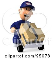 Royalty Free RF Clipart Illustration Of A 3d Toon Guy Auto Mechanic Pushing Inventory Boxes On A Dolly 2