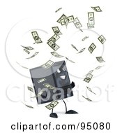 Royalty Free RF Clipart Illustration Of A 3d Computer Tower Character Surrounded By Banknotes 2 by Julos