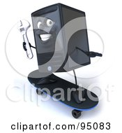 Royalty Free RF Clipart Illustration Of A 3d Computer Tower Character Skateboarding With A Wrench In Hand
