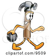 Clipart Picture Of A Hammer Mascot Cartoon Character Holding A Bowling Ball by Toons4Biz