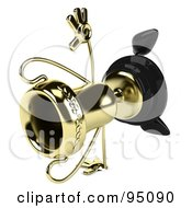 Royalty Free RF Clipart Illustration Of A 3d Gold Trophy Character Doing A Hand Stand 2