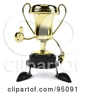 Royalty Free RF Clipart Illustration Of A 3d Gold Trophy Character Holding A Thumb Up 1
