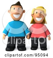 3d Casual Couple Standing And Holding Hands - 1